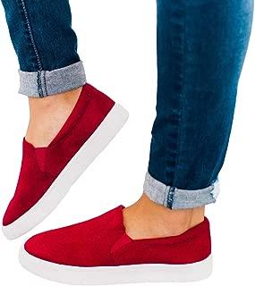 Kathemoi Womens Slip on Sneakers Platform Round Toe Loafer Casual Walking Flat Shoes
