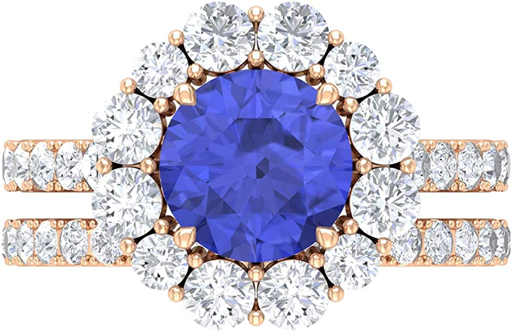 8 MM Lab Created Tucson outlet Mall Tanzanite Ring Moissanite Solitaire D-VSSI Ete