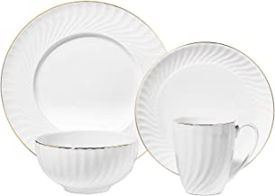 Chulan Porcelain Dinnerware Set, 4pc Bone China White Dinner Set Dishes, Elegance Tableware Dishwasher Microwave Safe (Din...