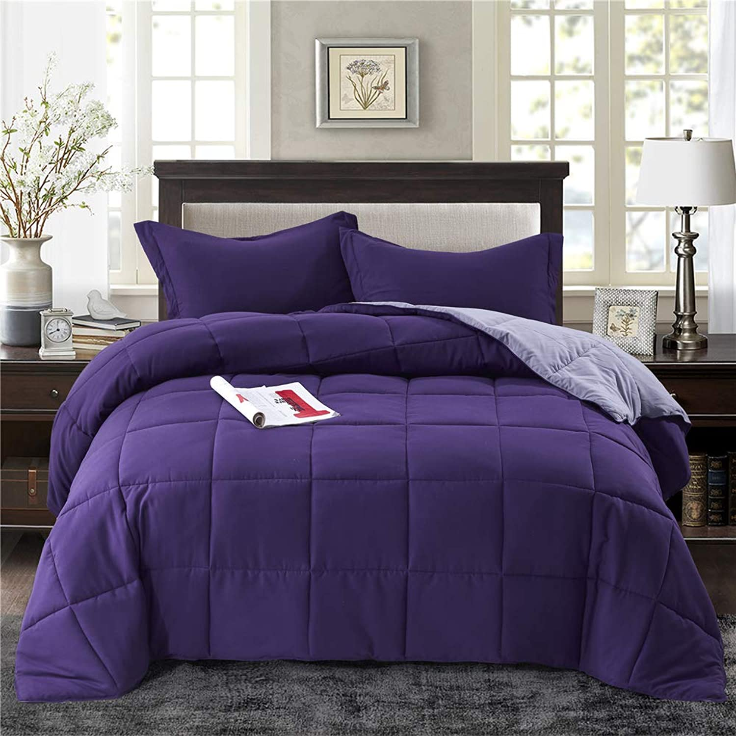 HIG 3pc Down Alternative Comforter Set -All Season Reversible Comforter with Two Shams -Quilted Duvet Insert with Corner Tabs -Box Stitched -Hypoallergenic, Soft, Fluffy (King CK, Light Medium Purple)