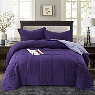 HIG 3pc Down Alternative Comforter Set - All Season Reversible Comforter with Two Shams - Quilted Duvet Insert with Corner Tabs -Box Stitched –Hypoallergenic, Soft, Fluffy (Full/Queen, Purple)
