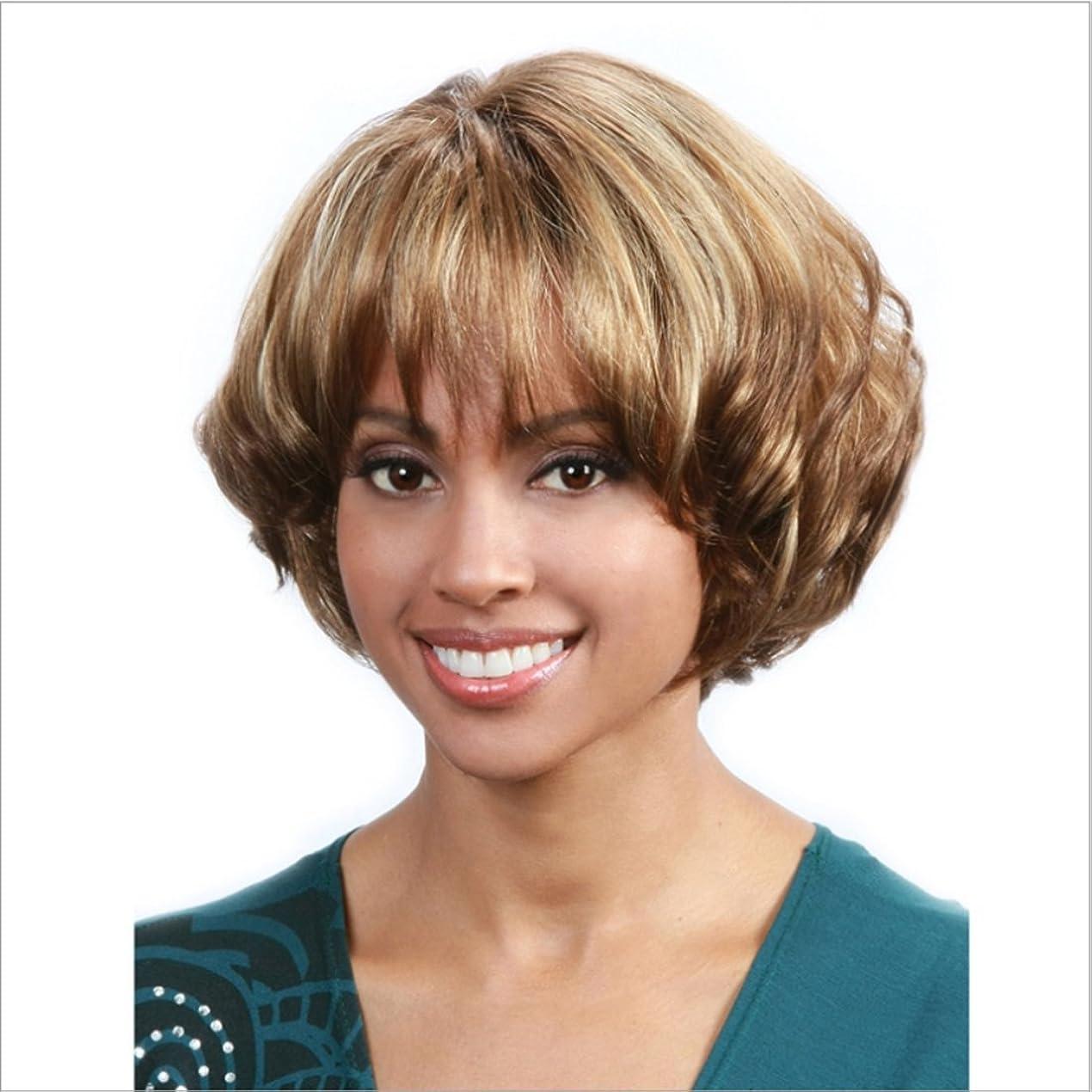 東方枯れる歌JIANFU 白い女性のための混合色のかつらカーリー合成髪短いブラウンと黒ウィッグ耐熱性髪のふわふわウィッグフラットバンズ付き10inch / 150g (Color : Brown and black)