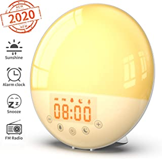 Wake Up Light Alarm Clock - Despertador de simulación de amanecer y atardecer, 30 brillos, función de repetición, 8 sonidos naturales y radio FM para adultos y niños