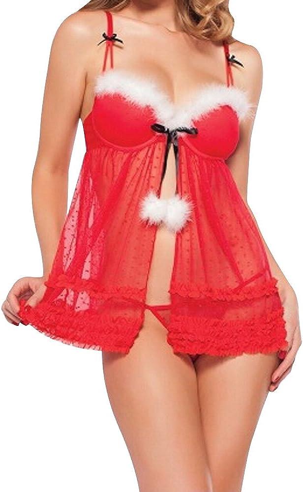 Women Red Christmas Santa Babydoll Lingerie/Sexy Nurse Lingerie/Cosplay Maid Bra Skirt Set