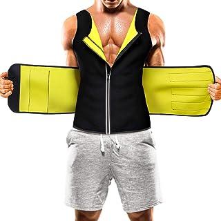 مردانه سونا کت و شلوار کمر جلیقه عرق داغ عرق بدن نئوپرن شکل بدن شکم تمرین زیپ مخزن بالا