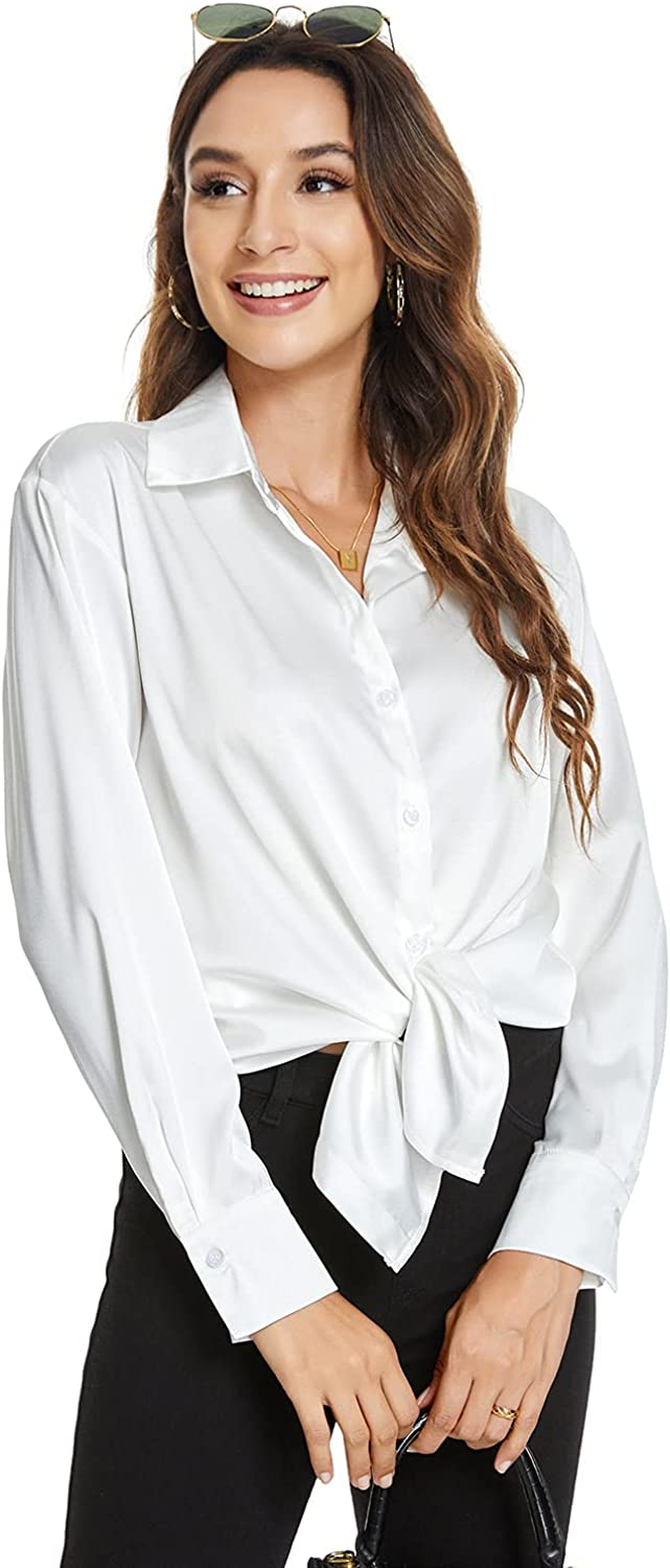 Atnlewhi Womens Long Sleeve Button Down Satin Silk Shirts Casual Business Smooth Blouse Tops