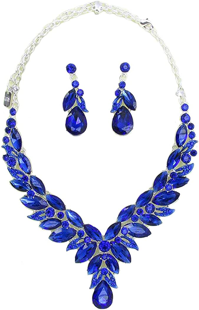 Fashion Jewelry ~ Blue Crystal Flower Teardrop Statement Necklace and Earrings Set for Women Teens Girlfriends Birthday Gifts