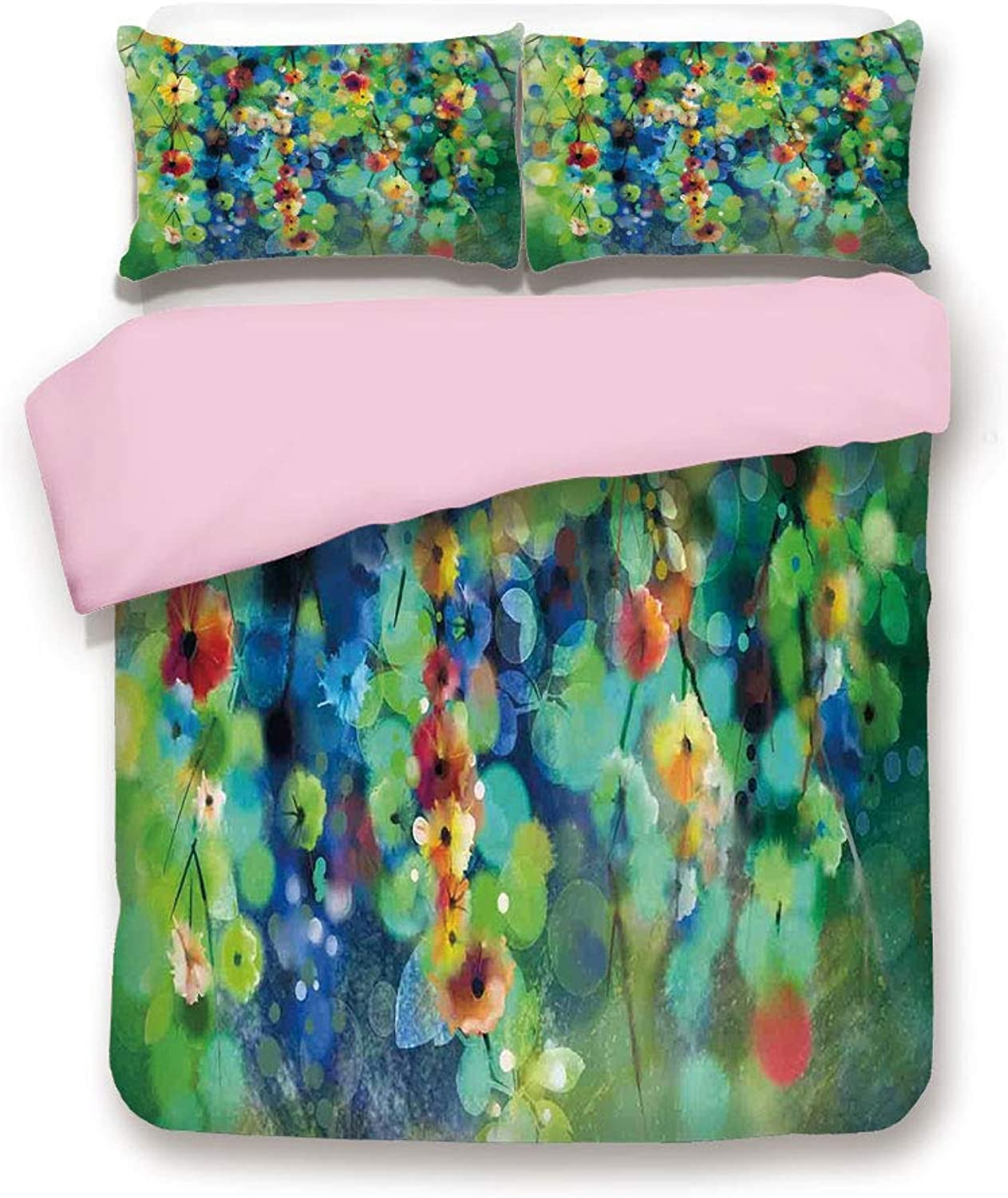 Pink Duvet Cover Set,Twin Size,Vibrant Blooms Clusters Down from Branch Spring Season Image,Decorative 3 Piece Bedding Set with 2 Pillow Sham,Best Gift for Girls Women,Green bluee