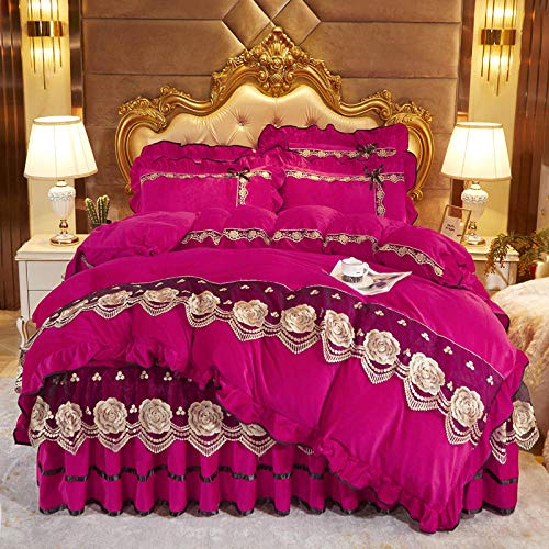 Juego de cuatro piezas de forro polar de coral estilo falda de cama, colcha de edredón de doble cara más forro polar adecuado para cama doble king-deep_pink_Bed_skirt: _200cm * 220cm (4 piezas)