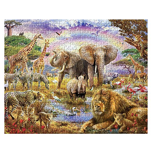 Jigsaw Puzzle 1000 Piece for Adults, African Animal World Jungle Beasts Puzzles Intellectual Decompressing Fun Family Game Large Puzzle Adult Kid Game Toys Gift Include 29 x 20inch 1:1 Posters