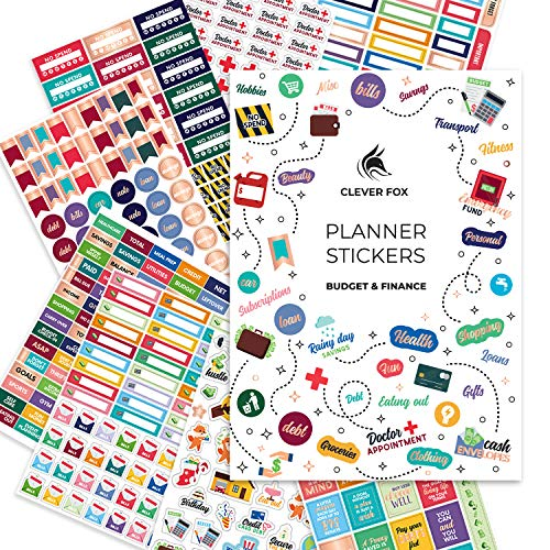 Budget Stickers by Clever Fox - 14 Sheets Set of 1030+ Unique Budget Planner Stickers for Your Monthly, Weekly & Daily Planner, Budget Planner, Calendar or Journal, Budget Sticker Book (Budget Pack)