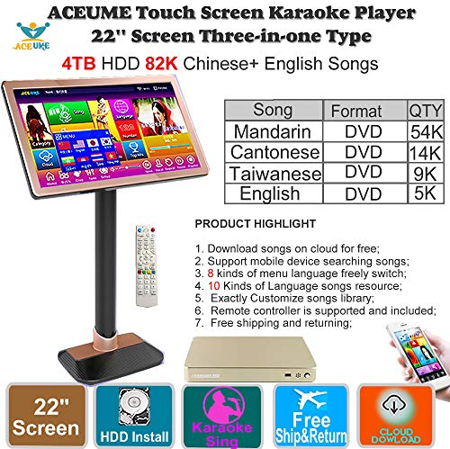 4TB HDD 87K Chinese songs,English Songs,22'' Touch Screen Karaoke Player, Cloud...