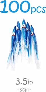 Fish WOW! 100pcs 3.5 inch 9cm Octopus Squid Skirts Hoochies Fishing Soft Lures - Blue Clear Bling