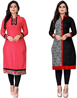Dharmi Trendz Women's Pack of 2 A-Line Cotton Printed Semi-Stitched Kurti Material (100217) Pink