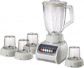 5-in-1 Blender 1.5 Liters Plastic Jar With 4 Speed 250 Watts Brand Cyber -9905 Clear (White)