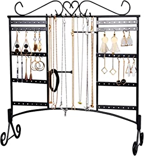 Jewelry Organizer Earring Holder Necklace Display Large Capacity with Removable Foot Bracelets Hanger Wall Stand Rack(Black)