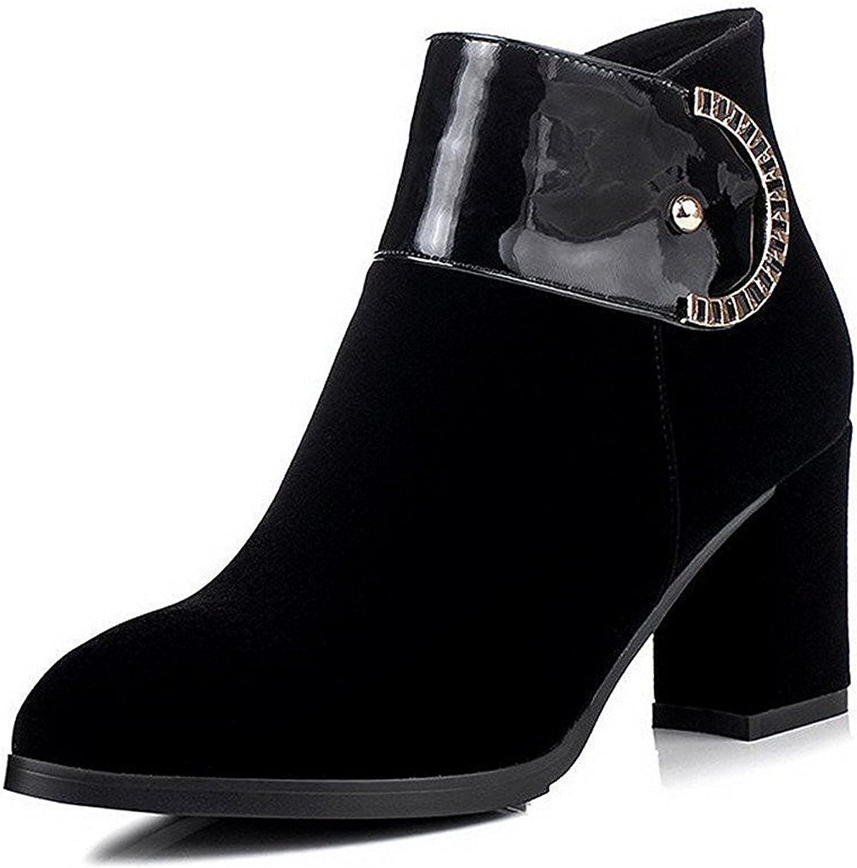 WANabcMAN Comfortable Women's High Heels Dull Polish Low Top Solid Zipper Boots