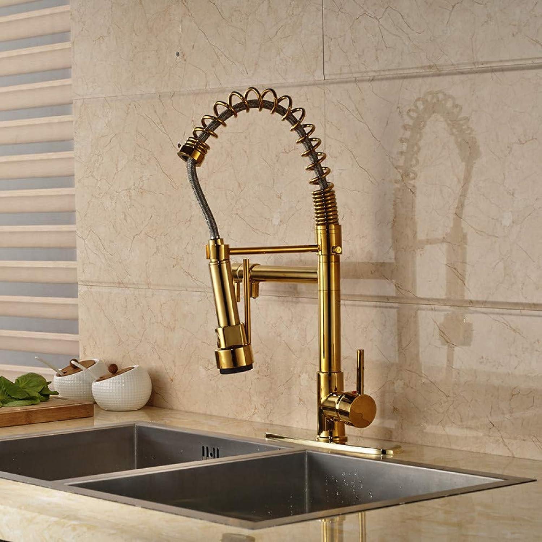 KLYBFN&N Goldenes Finish Deck Montiert Küche Frühling Mixer Wasserhahn Mit Loch Abdeckplatte
