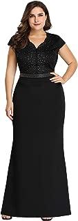 Ever-Pretty Women's Plus Size Cap Sleeve Beads Patchwork Mermaid Dress 7623