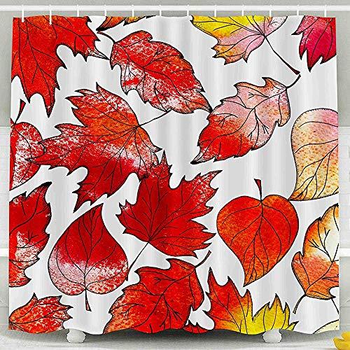 Duschvorhang-Giftiger Raumteilungs-Vorhang-Vorhang Autumn Background Autumn Red Leaves Watercolor Texture Shower Curtain