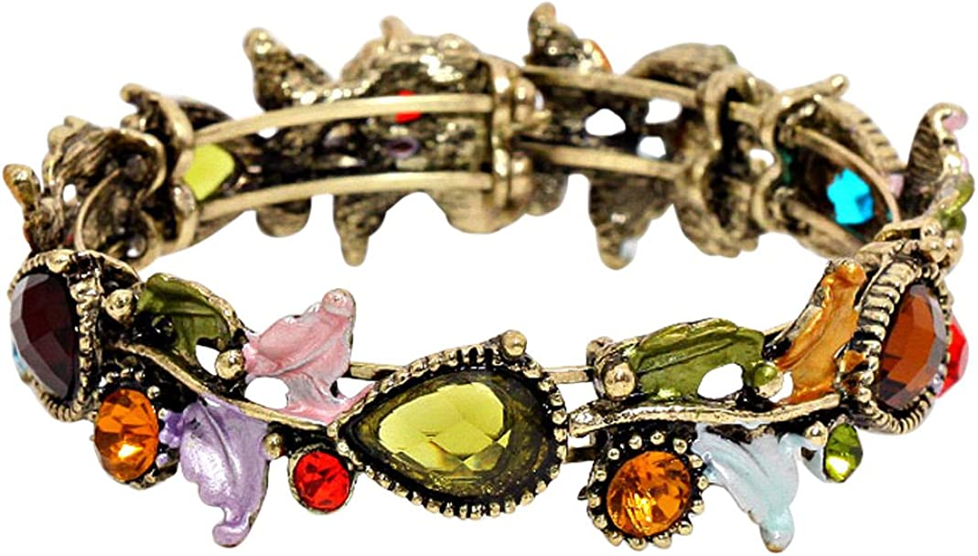 Rosemarie Collections Women's Leaf Vine Glass Crystal Fashion Cuff Bracelet