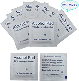 200 Packs Disposable Alcohol Prep Pads, Upgrade Thick and Increase size-4-Layer Alcohol Wipes, Individually Wrapped Alcohol Pads Wipes(2.36