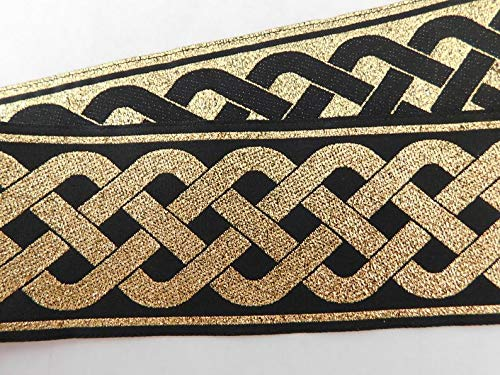 Jacquard Ribbon Trim 2' Woven Metallic Jacquard gET Ribbon Trim Tape Gold~Black~Celtic Knot Pattern~Reversible