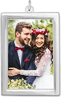 Wedding Bouquet Photo Charm Silver Plated Rectangle Double Sided