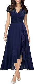 Women's V Neck Elegant Lace Ruffle Bridesmaid Maxi Dress