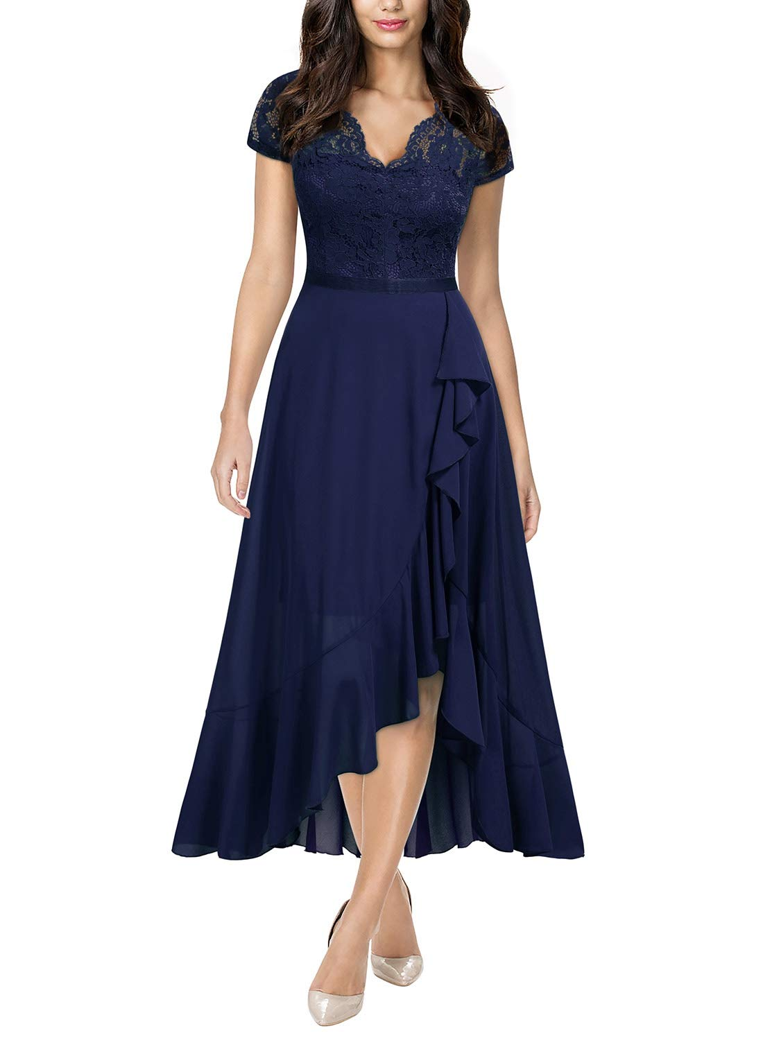 Party Dresses - Women's Formal Floral Lace Ruffle Cocktail Party Dress