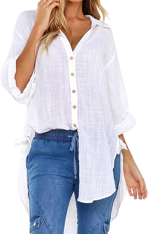 Women Cotton Linen Shirts Casual Loose Fit Button Down Mid-Long Shirts Plus Size High Low Blouse Oversized Plain Tops