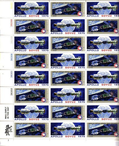 USPS 1975 Apollo-Soyuz Mission Full Sheet of 24 x 10 Cent Stamps Scott 1569-70