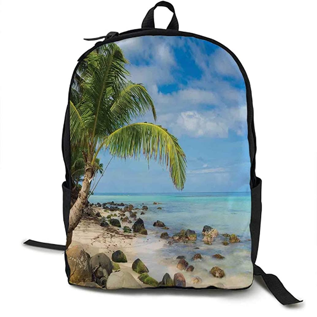 Seaside Decor Unisex classic backpack Romantic Beach Tranquil Scene Palm Trees Caribbean Island Nature Photography Suitable for 16-inch laptops 16.5 x 12.5 x 5.5 Inch