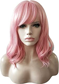 AneShe 14 Inches Women Girls Short Pink Wavy Wig Curly Synthetic Hair Wig With Air Bangs (Pink)