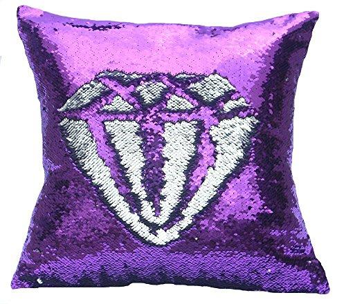 Snug Star 2-farbiges Kissen mit Meerjungfrauen-Paillettendesign, 40x 40cm Purple and Silver