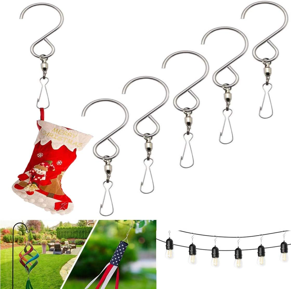 Umiitto Max 83% OFF Luxury Swivel Hooks Clips Stainless Mobil 3D Spinner Steel Hook