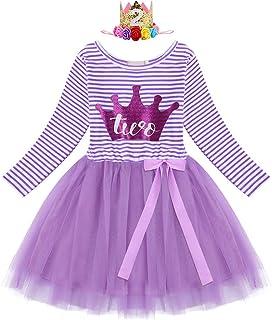 IBTOM CASTLE Baby Girls Shinny Crown 1st/2nd/3rd Birthday Long Sleeve Princess Cake Smash Tutu Tulle Dress Outfit