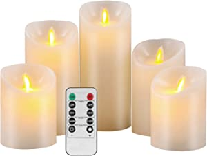 Pandaing Flameless Candles Set of 5 Battery Operated LED Pillar Real Wax Flickering Electric Candle Gift Set with Remote Control Cycling 24 Hours Timer