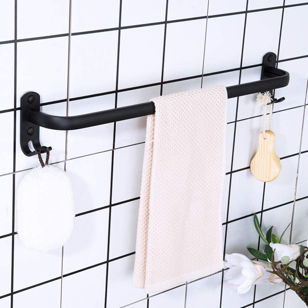 HAOLY Bathroom Towel Sale item Rack Punch-Free Black Special Campaign Double Hanger B