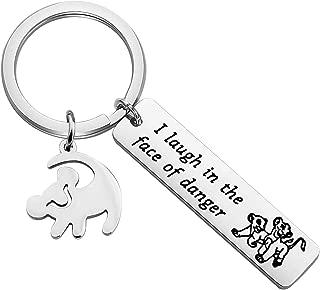 Lywjyb Birdgot The Lion King Gift Animal Kingdom Gift Simba Gift Lion King Fan Inspired Gift Encouragement Gift I Laugh in The Face of Danger Keychain