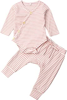 Newborn Unisex Baby Pajamas, Organic Cotton Kimono Onesies+Striped Pants, Infant Baby Top Pants Set