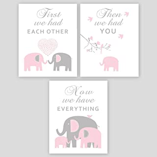Baby Girl Nursery Wall Art - Pink and Gray Elephant Nursery Decor, PHOTO PRINTS or CANVAS - Playroom decoration SET OF 3