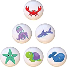 SET OF 6 KNOBS - Cute Sea Fish Ocean Animals - DECORATIVE Glossy CERAMIC Cupboard Cabinet PULLS Dresser Drawer KNOBS