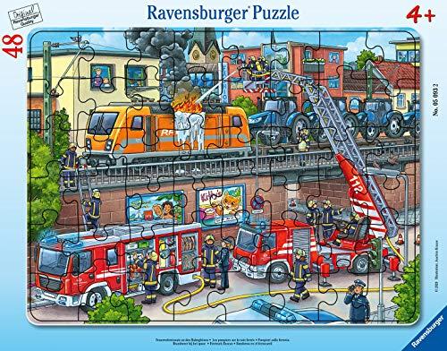 Ravensburger Kinderpuzzle 05093 Feuerwehreinsatz An Den Bahngleisen 05093-Feuerwehreinsatz an den Bahngleisen-48 Teile Rahmenpuzzles, Teal/Turquoise Green