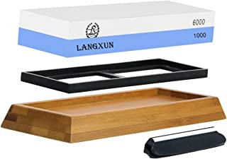 Langxun 2-In-1 Knife Sharpening Stone, 2 Side Grit 1000/6000 Whetstone   Bonus Non-Slip Bamboo Base & Angle Guide - Ideal Thanksgiving gifts and Christmas Gifts, New Year's Gifts