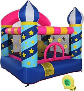 Stars Inflatable Bounce Castle House Kids Party Bouncy House with Commercial Grade Air Blower Included