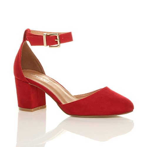 b73a51696eb Ajvani Womens Ladies Low mid Block Heel Ankle Strap Mary Jane Court Shoes  Sandals