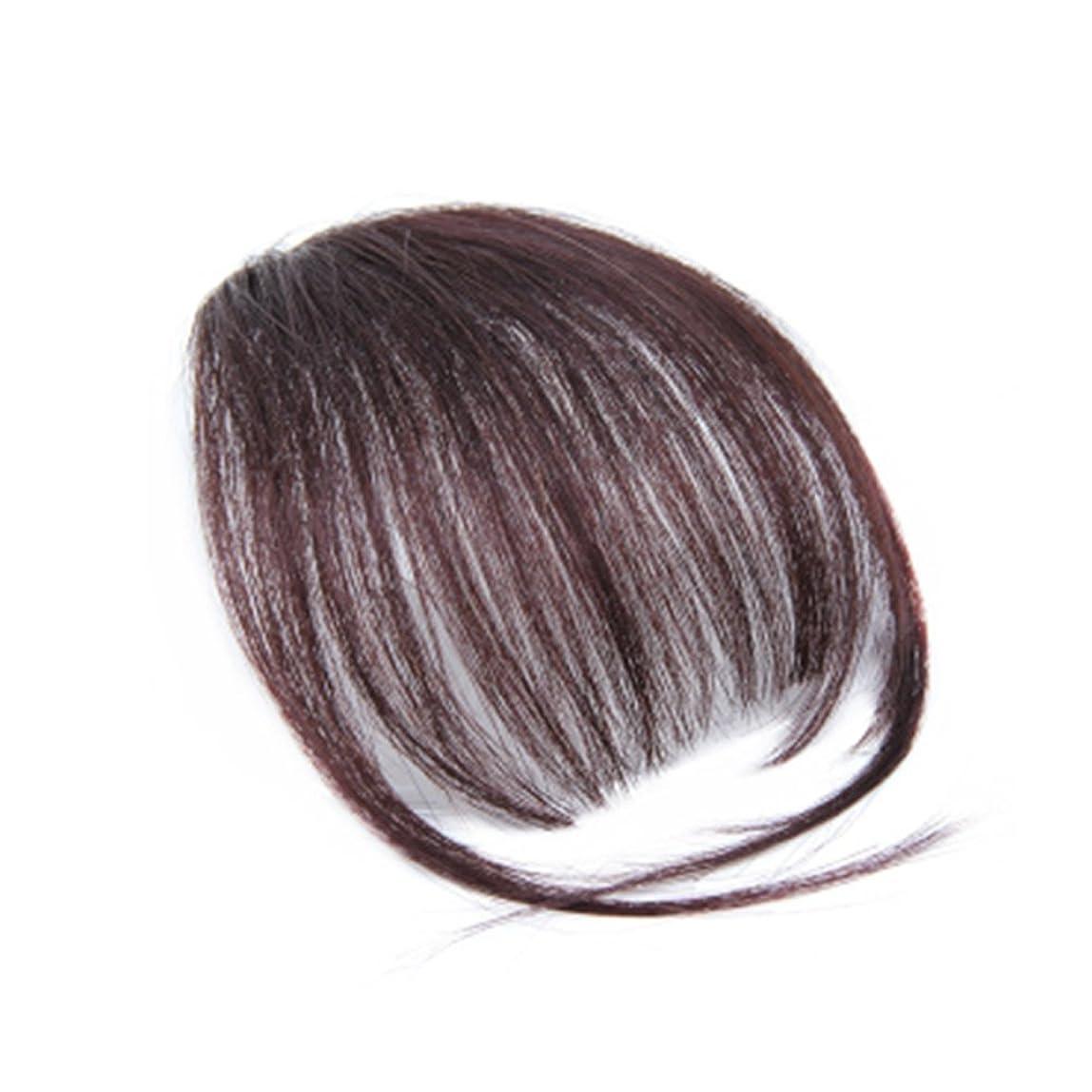 実行衝突わずかにSUPVOX 寺院の天然の本物の人間の髪の平らな前髪/フリンジの手の結び目前髪クリップインヘアエクステンション(ダークブラウン)