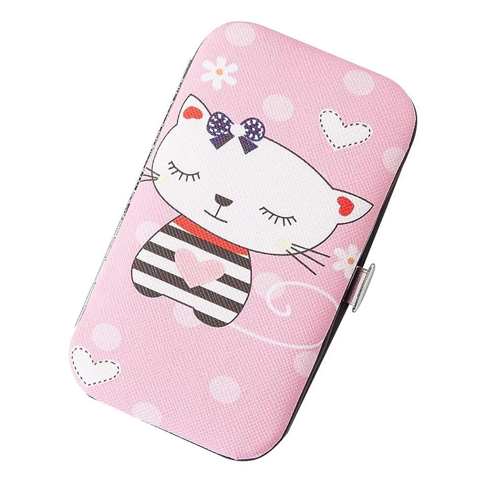 機密タイプヘロインポータブルネイルクリッパーセット7ピース、ステンレススチールネイル美容ツールセット、子供の女の子の人の女性のピンクボックス漫画の猫のためのマニキュアキット