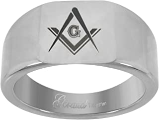 Jewels By Lux Tungsten Mens Laser Masonic Comfort-fit 8mm Wedding Band Ring